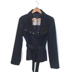 H&M short navy wool coat size, size 8